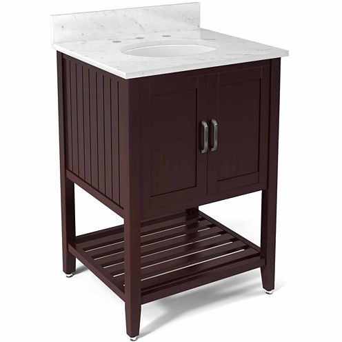 25 in Bennet Bath Vanity Base with Carrera Marble Top