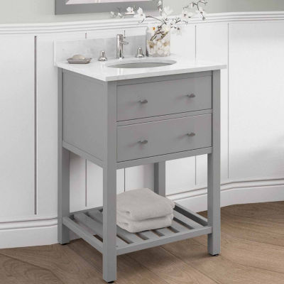 25 in Harrison Bath Vanity Base with Carrera Marble Top