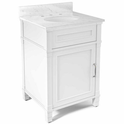 25 in Williamsburg Bath Vanity Base with Carrera Marble Top