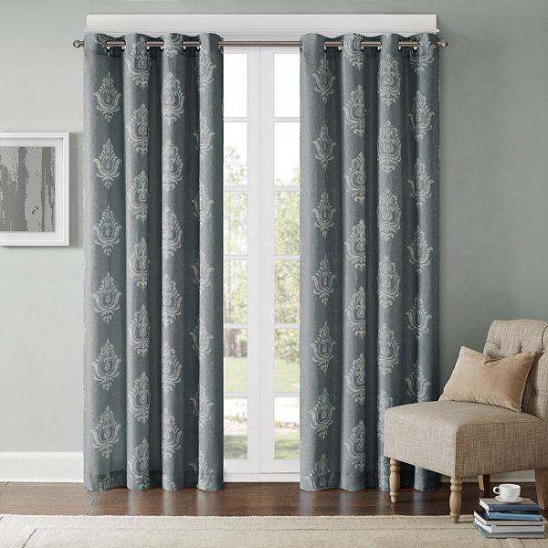 Kensington Damask Grommet-Top Curtain Panel