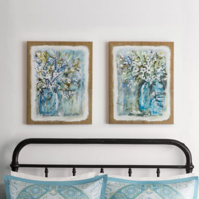 Madison Park Burlap Blossoms 2-pc. Canvas Art