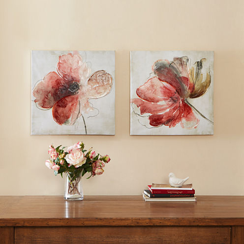Madison Park Lovely Blooms Hand Embellished 2-pc. Canvas Art