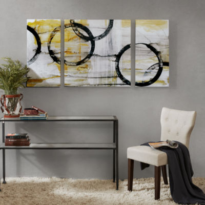 Madison Park Lunar Glow With Printed Gel Coat 3-pc. Canvas Art