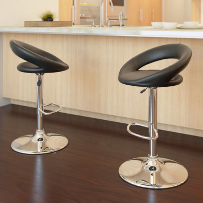 Round Back Adjustable Barstools- Set of 2
