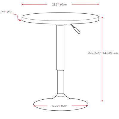 Adjustable Height Round Pub Table