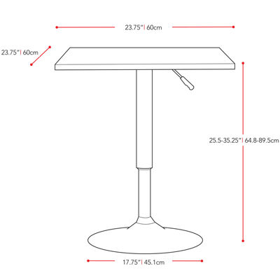 Adjustable Height Square Pub Table