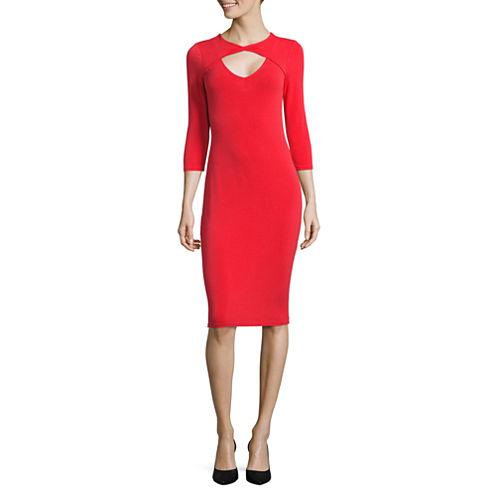 Belle + Sky 3.4 Open Twist Sleeve Twist Front Bodycon Dress