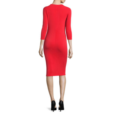 Belle + Sky 3.4 Open Twist Sleeve Twist Front Bodycon Dress