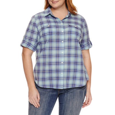 St. John's Bay 3/4 Sleeve Button-Front Shirt-Plus