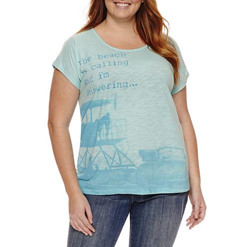 St. John's Bay Short Sleeve Scoop Neck T-Shirt-Womens Plus