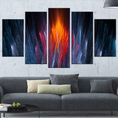 Design Art Fractal Fire In Light Blue Abstract (373) Canvas Art Print - 5 Panels