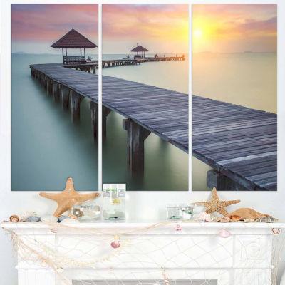 Design Art Wooden Sea Bridge And Sunset Seashore Photo Canvas Print - 3 Panels