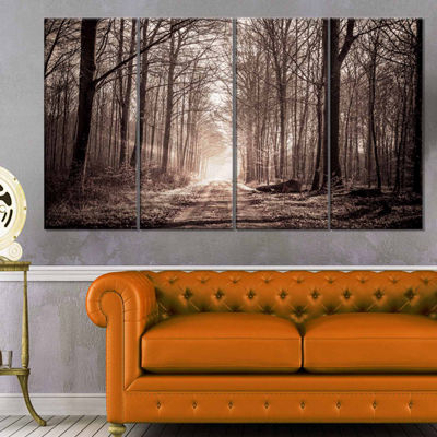Designart Forest Trail In Sepia Landscape Photography Canvas Art Print - 4 Panels