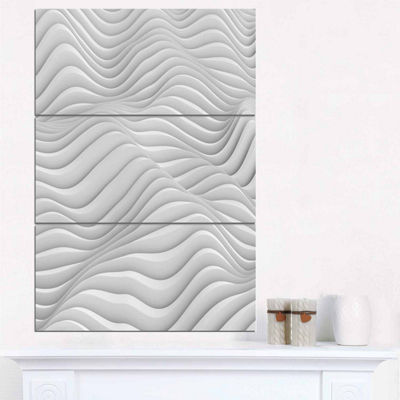 Designart Fractal Rippled White 3D Waves AbstractCanvas Art Print - 3 Panels