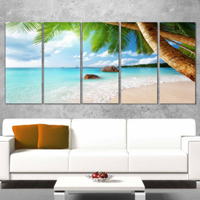 Designart Praslin Island Seychelles Beach SeashorePhoto Canvas Print - 5 Panels
