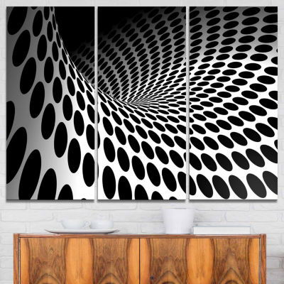 Design Art Waves And Circles Black N' White Abstract Canvas Art Print - 3 Panels