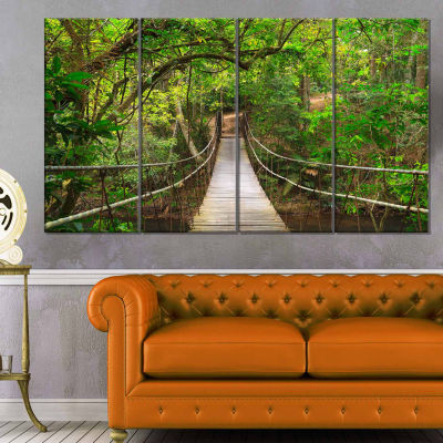 Designart Bridge To Jungle Thailand Landscape Photo Canvas Art Print - 4 Panels