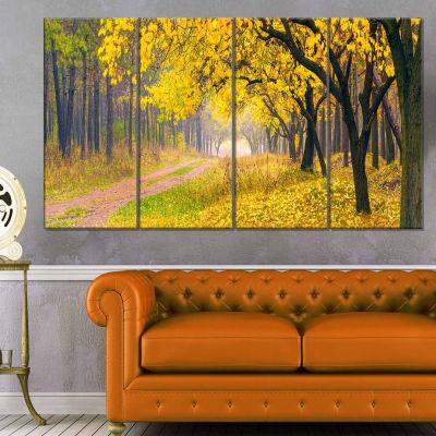 Designart Bright Yellow Autumn Forest Landscape Photo Canvas Art Print - 4 Panels