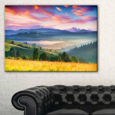 Designart Beautiful Mountainous Region Blue Landscape Painting Canvas Art Print