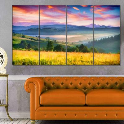 Design Art Beautiful Mountainous Region Landscape Painting Canvas Art Print - 4 Panels