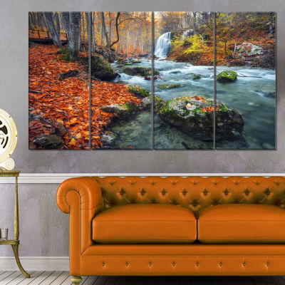 Design Art Forest With Red And Orange Leaves Landscape Photography Canvas Print - 4 Panels