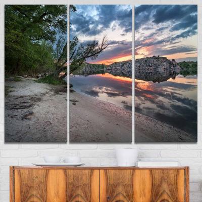 Designart Sunset At River With Rock Landscape Photo Canvas Art Print - 3 Panels