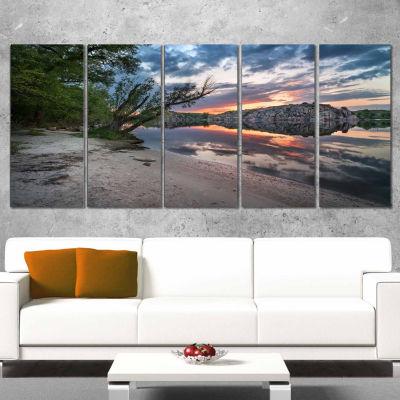 Designart Sunset At River With Rock Landscape Photo Canvas Art Print - 5 Panels
