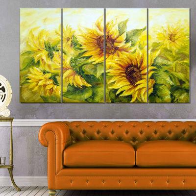 Design Art Bright Yellow Sunny Sunflowers Painting Canvas Wall Art - 4 Panels