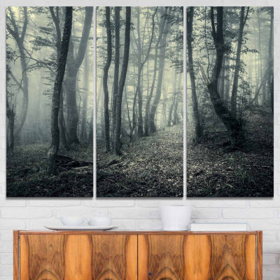 Design Art Dark Gray Fall Forest Trees Landscape Photo Canvas Art Print - 3 Panels