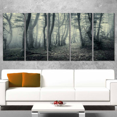Design Art Dark Gray Fall Forest Trees Landscape Photo Canvas Art Print - 5 Panels