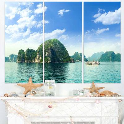 Designart Ha Long Bay In Vietnam Seascape Canvas Art Print - 3 Panels