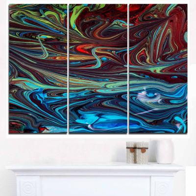 Designart Red Blue Abstract Acrylic Paint Mix ArtCanvas Wall Art - 3 Panels
