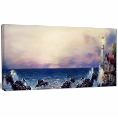 Designart Lighthouse Sea Panoramic Landscape Art Print Canvas