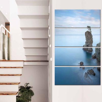 Design Art Pine Tree Rock At Portofino Park Beach Photo Canvas Print - 4 Panels