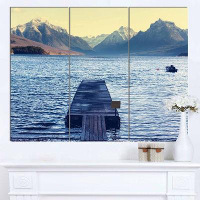Design Art Lake In Glacier National Park Seashore Canvas Print - 3 Panels