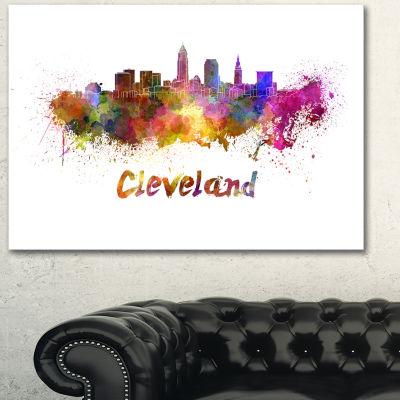 Design Art Cleveland Skyline Cityscape Canvas Artwork Print