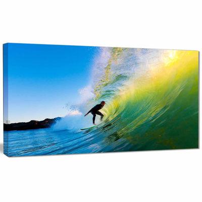Designart Surfer Beating Green Waves Photography Canvas Art Print