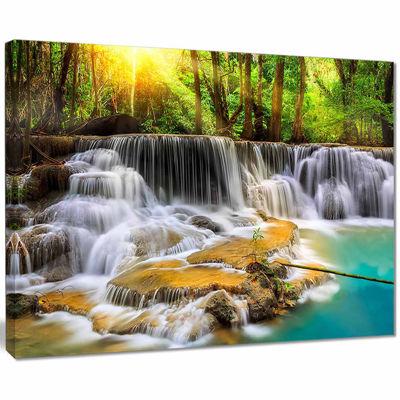 Designart Wide View Of Erawan Waterfall LandscapeArt Print Canvas