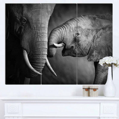 Design Art Elephants Showing Affection Abstract Canvas Art Print - 3 Panels