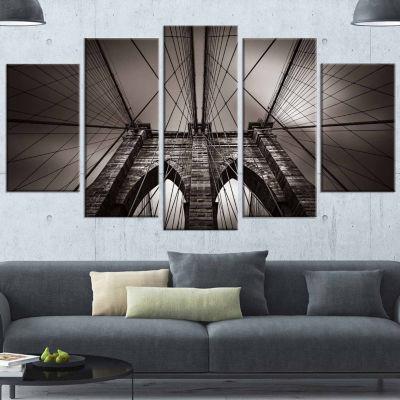 Design Art Brooklyn Bridge In NYC Usa Grey Canvas Art Print - 5 Panels