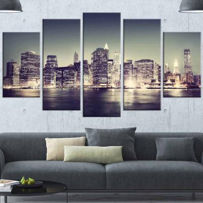 Design Art Black And White NYC Night Panorama White Canvas Art Print - 5 Panels