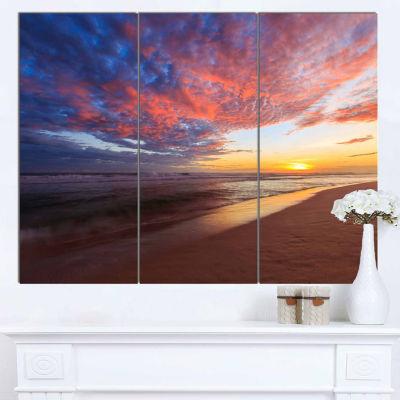 Design Art Colored Clouds In Beach At Sunset Seashore Canvas Art Print - 3 Panels