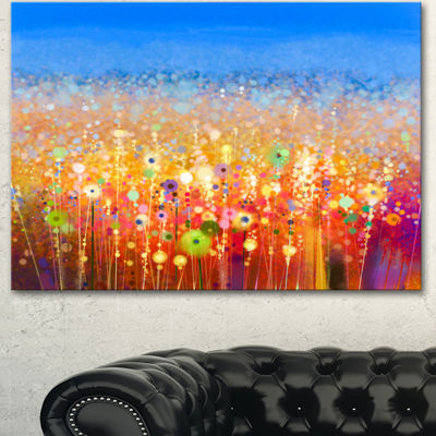 Designart Abstract Flower Field Watercolor Painting Canvas Art Print