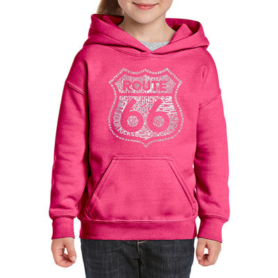 Los Angeles Pop Art Get Your Kicks On Route 66 Long Sleeve Sweatshirt Girls