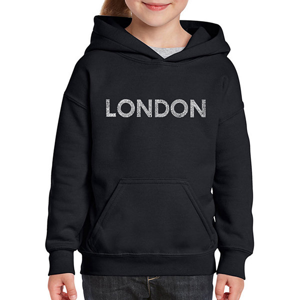 Los Angeles Pop Art London Neighborhoods Long Sleeve Girls Word Art Hoodie