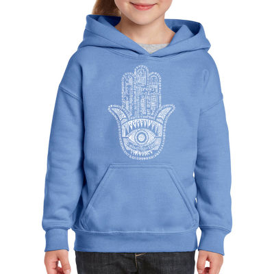 Los Angeles Pop Art Hamsa Long Sleeve Girls Word Art Hoodie