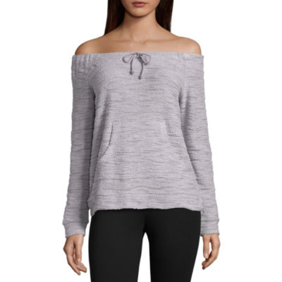 Flirtitude Off the Shoulder Sweatshirt - Juniors