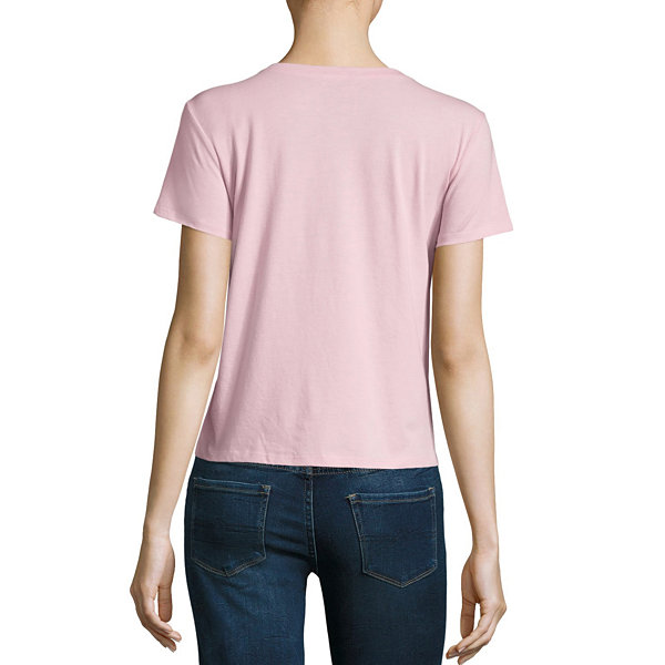Arizona Short Sleeve Round Neck T-Shirt-Womens Juniors