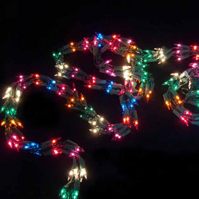 9' Christmas Light Garland with 300 Multi-Color Mini Lights - Green Wire