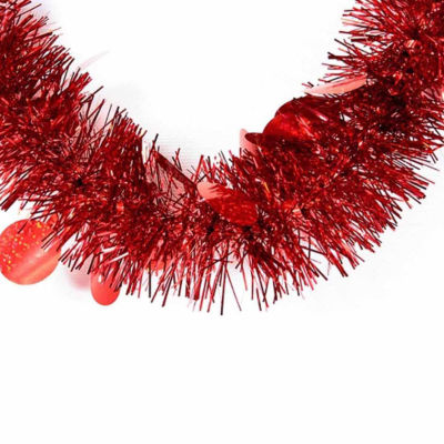 50' Festive Shiny Red Christmas Tinsel Garland with Holographic Polka Dots - Unlit - 5 Ply